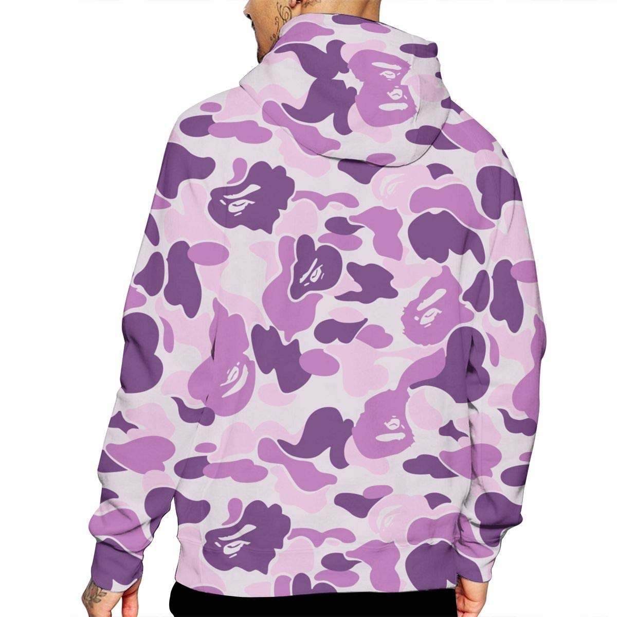Red Camo T-Shirt Hooded with A Pocket Rope Hat Customization Fashion Novelty 3D Mens