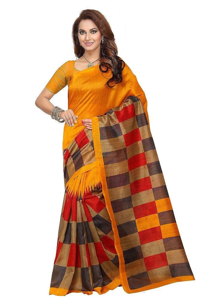 a7d73b915 Ishin Bhagalpuri Art Silk Yellow Printed Women s Saree.  Amazon.in   Clothing   Accessories