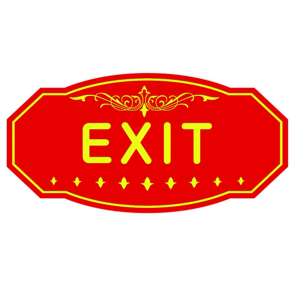 EXIT Victorian Door Red // Yellow Wall Sign Large 5 x 10