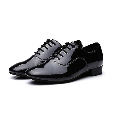 Zapatos de cuero Mqforu de punta redonda para hombre con tacón de 2,
