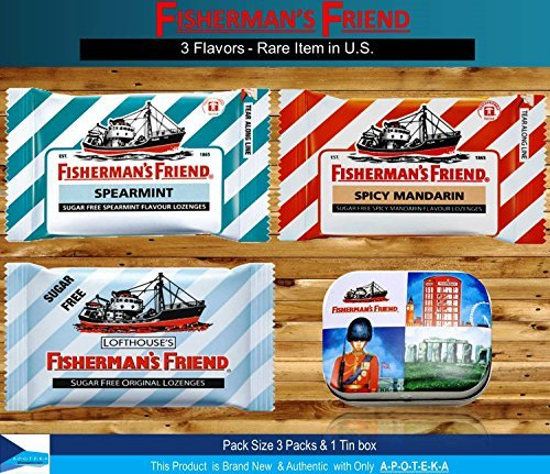 Friends Tin Box - Fisherman's Friend Lozenges Triple Flavors of Rare Item in U.S. (3 Flavors of Pack with 1 Mini Tin Boxes) Effective for Extra Strong Cough Suppressant Lozenges and Tin Box Collectibles Set