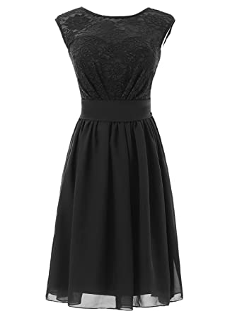 481a8b81ca3 DYS Women s Short Bridesmaid Dress with Lace Prom Party Dresses Black ...