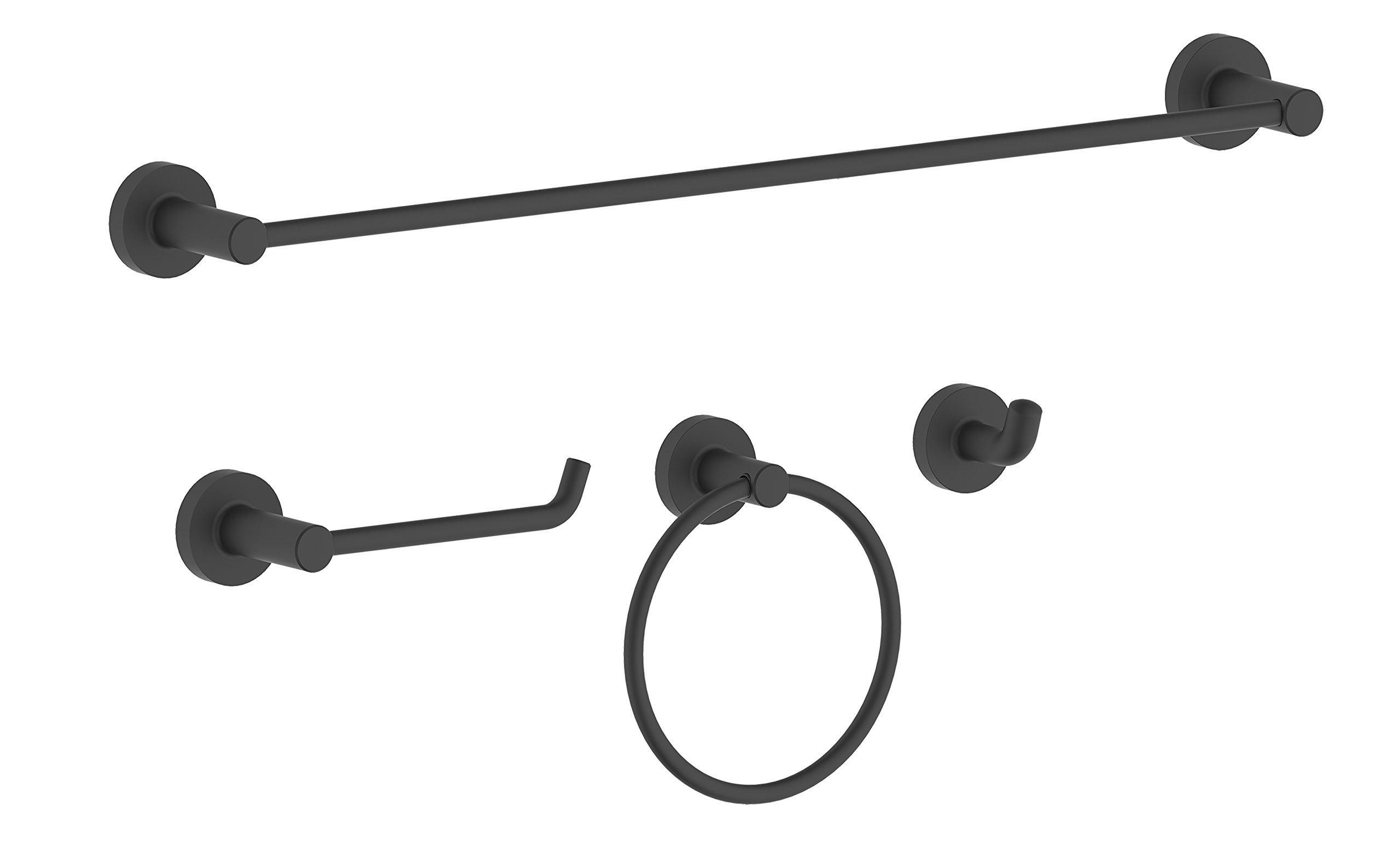 Serenade SBA01-MB 4 Pieces Bath Hardware Accessories Set with 24'' Towel Bar-Towel Ring- Paper Holder-Robe Hook, Matte Black