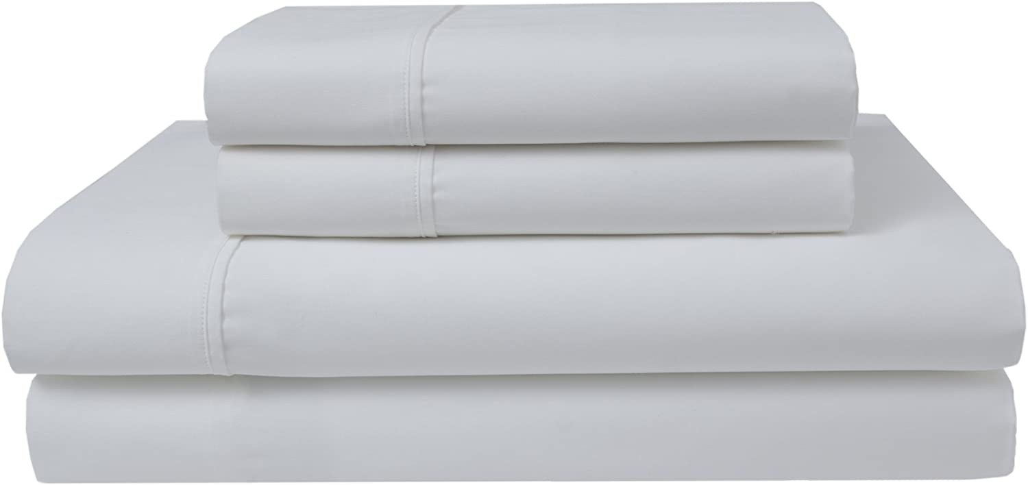 Elite Home Products 300 Thread Count Organic Cotton Deep-Pocketed Sheet Set, Queen, White
