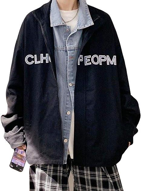 Alhylaデニムジャケット メンズ おしゃれ ジャンパー 男性 英字付け かっこいい ブルゾン レイヤードフェイク ジャケット アウター ビジネス 通勤 通学