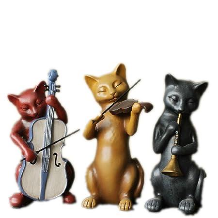 PPLLMMNN Decoración de artesanía de Resina Tres Gatos ...