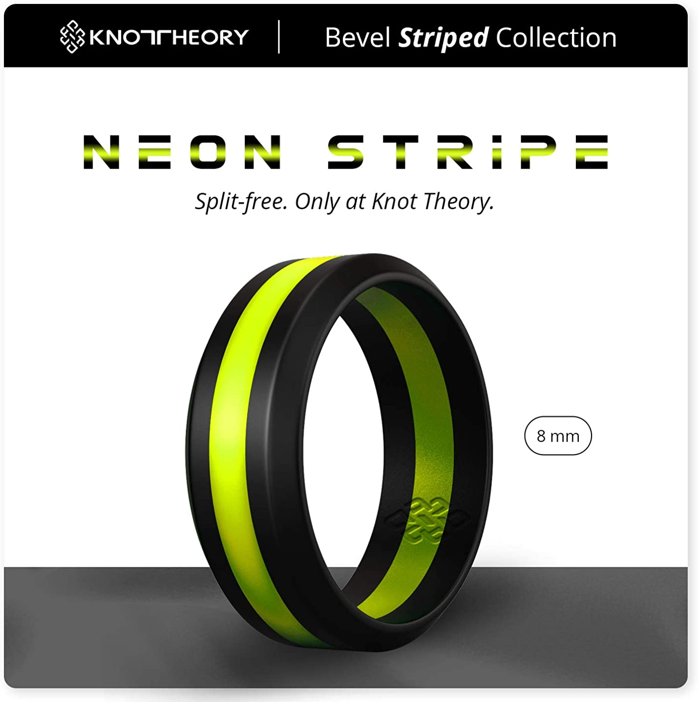 Yellow Red Purple Black Grey Orange Blue Knot Theory Striped Silicone Ring for Men and Women