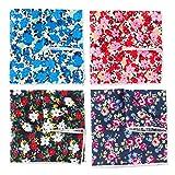 Levao Men's Floral Cotton Pocket Square Flower Handkerchief Mentie Mix4-1