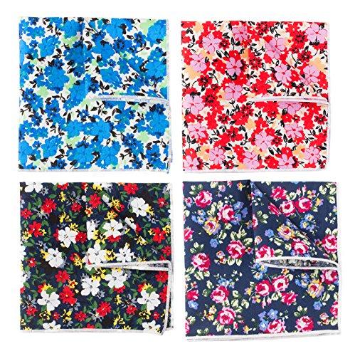 Levao Men's Floral Cotton Pocket Square Flower Handkerchief Mentie Mix4-1 by Levao