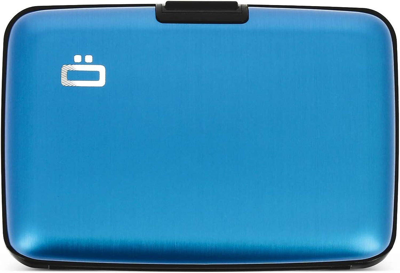 Ögon Smart Wallets - Stockholm Cartera Tarjetero - Protección RFID: Protege Tus Tarjetas de Robar - hasta 10 Tarjetas + Recetas + Notas - Aluminio anodizado (Azul)