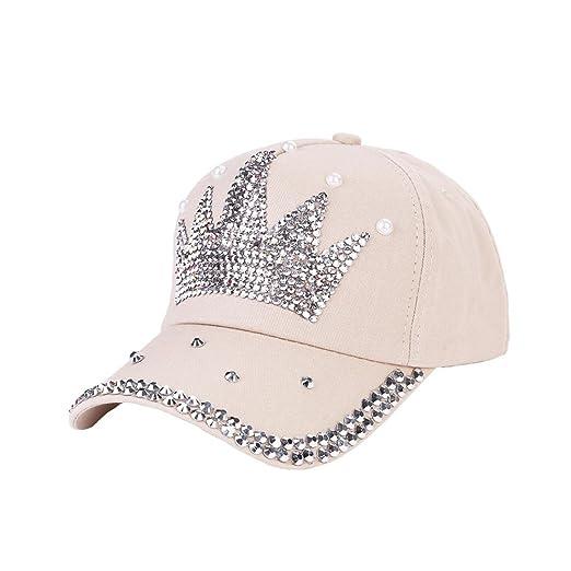 289cc7f7c03 Vertily Hat Rhinestone Crown Unisex Adjustable Baseball Children Hip-Hop Cap  (Beige)
