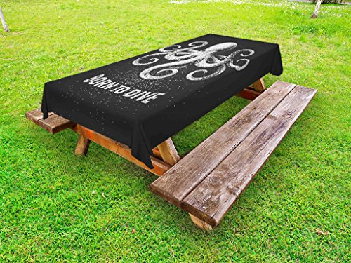 Lunarable Octopus Outdoor Tablecloth, Chalk Tentacle Animal on Charcoal Grey Background and Born to Dive Quote, Decorative Washable Picnic Table Cloth, 58 X 84 inches, Charcoal Grey White by Lunarable