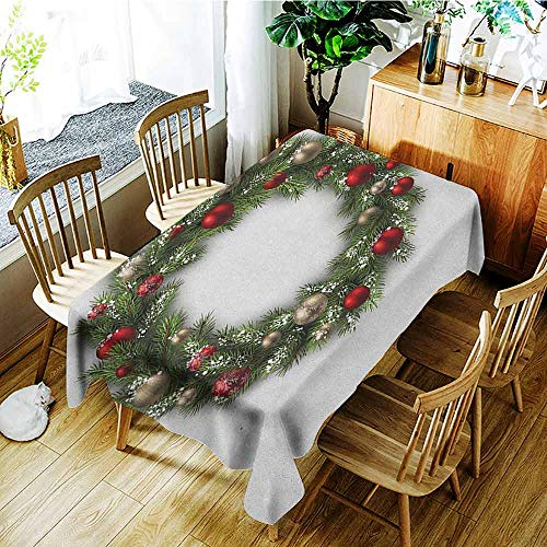 XXANS Large Rectangular Tablecloth,Christmas,Fresh Classical Christmas Wreath Vivid Balls Snowy Fir Felicitation Theme,Table Cover for Kitchen Dinning Tabletop Decoratio,W60X102L Green Gold Red