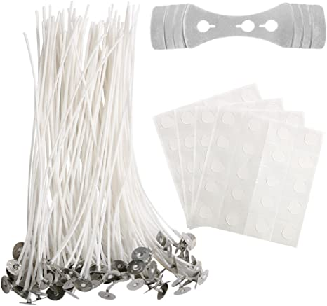 COCODE 100 Piece Candle Wick with Candle Wick Stickers and Candle Wick Centering Device 8 inch Low Smoke Natura Wicks Perfect for DIY Candle Making