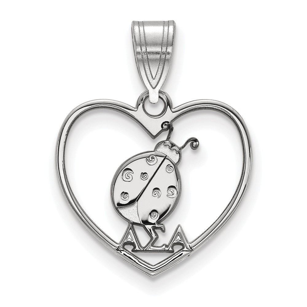 Solid 925 Sterling Silver Alpha Sigma Alpha Heart Pendant 17mm x 22mm
