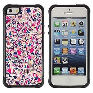 WAWU Funda Carcasa Bumper con Absorci??e Impactos y Anti-Ara??s Espalda Slim Rugged Armor -- shard tile porcelain pink pattern -- Apple Iphone 5 / 5S