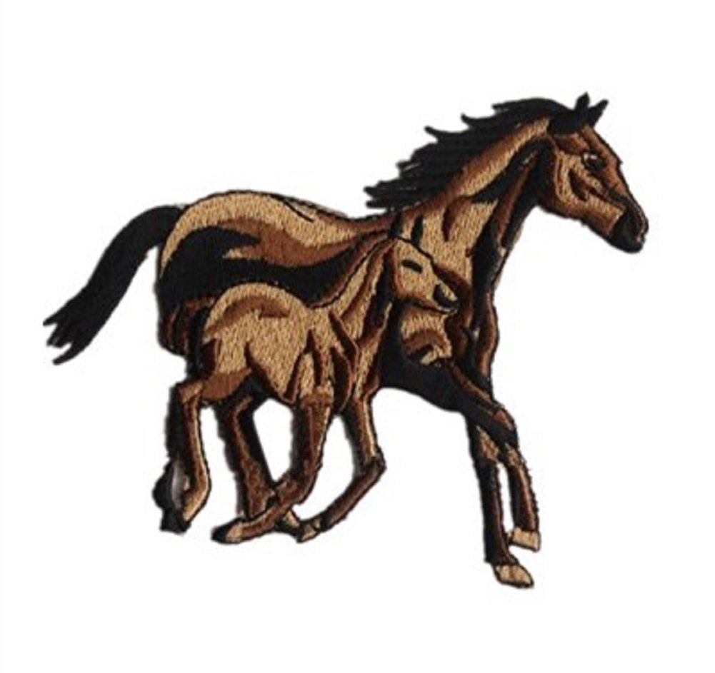 braun Pferd Kopf Tier Patches Aufbügeln 5,6x5,5cm Aufnäher // Bügelbild