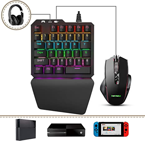 Delta essentials FO203 Combo Teclado y Ratón, Teclado mecánico Gaming Switch Azul Juegos, Adaptador Convertidor para PlayStation 3/PlayStation 4/Nintendo Switch/Xbox One: Amazon.es: Videojuegos