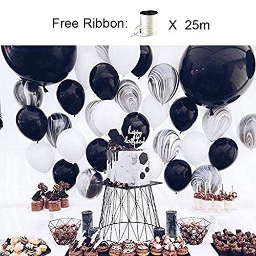 LAttLiv Black and White Balloons, 40 Pcs 12 Inch Black Balloons White Balloons Black Marble Balloons for Party Black and White, Black and White Birthday, Marble Party, Marble Birthday, Stag Party