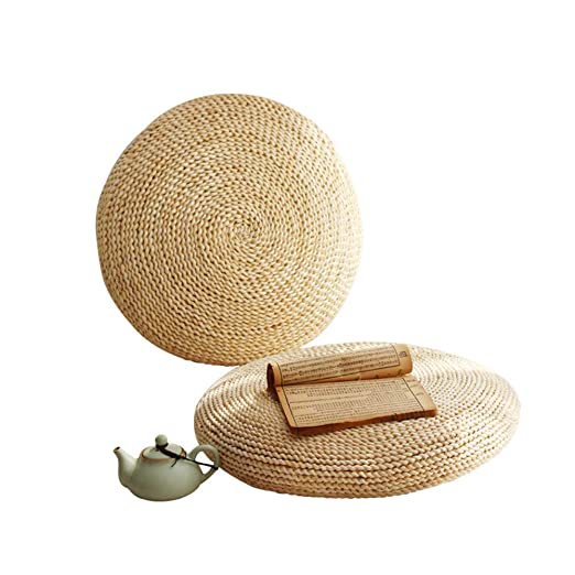 BulzEU - Puf de Paja Natural con diseño de Tatami, futón de Punto Redondo, cojín de Piso para Tatami, tapete de meditación, Esterilla de Yoga Suave ...