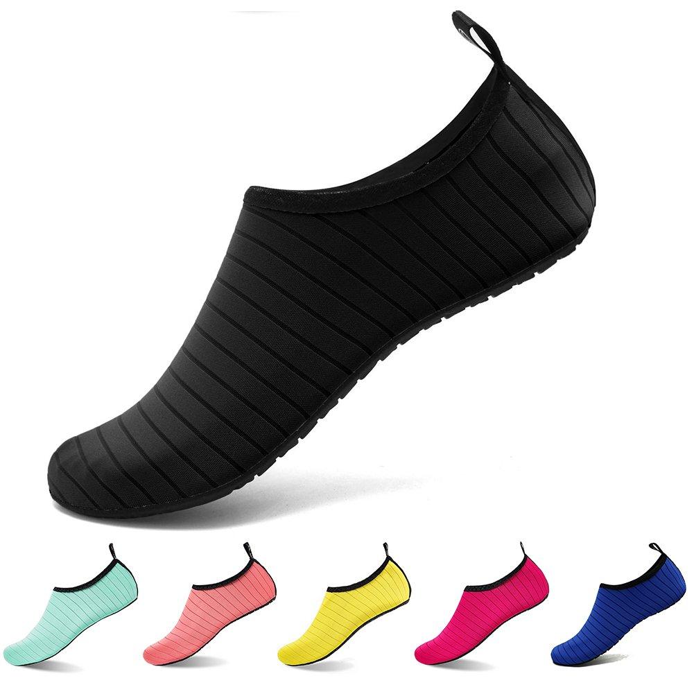 U-WARDROBE Water Sport Shoes Quick-Dry Barefoot Aqua Socks For Men Women Kids Skin Water Shoes black US Women:9.5-10.5/Men:7.5-8.5