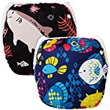 Swim Diaper, Angel Love 2Pcs Pack One Size Washable and Reusable Swimming Diaper, Adjustable & Stylish Fits Newborn to Toddler SWD0709-CA