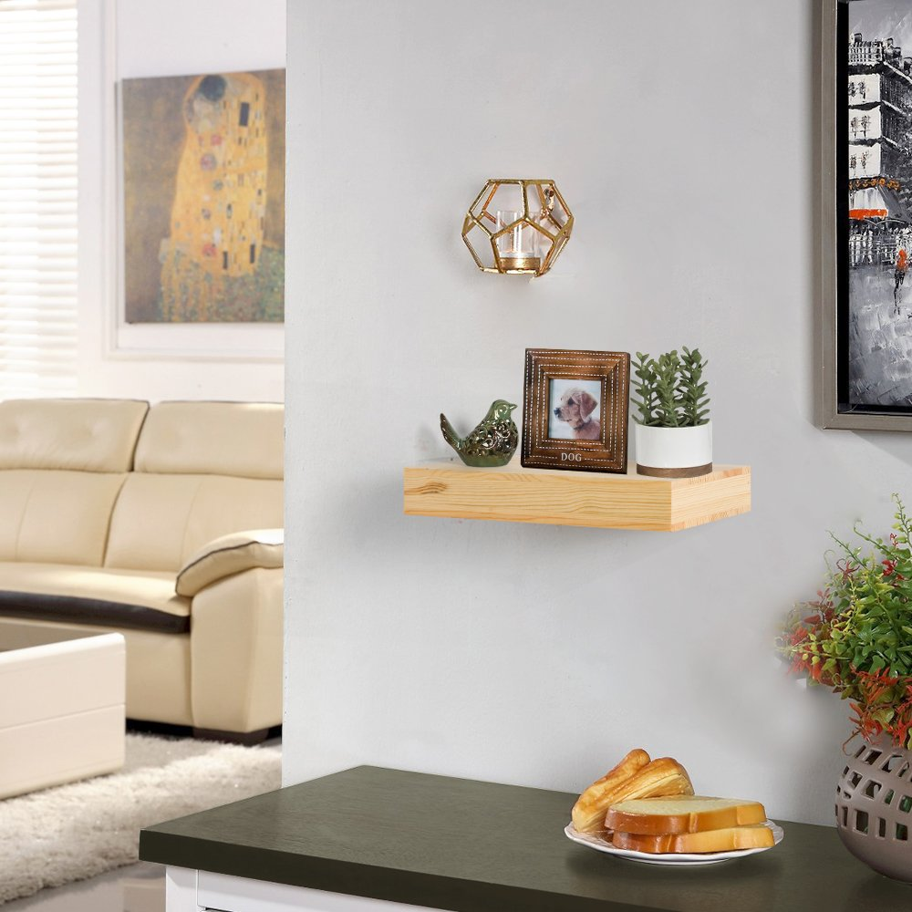 AHDECOR Natural Wood Deep Floating Wall Shelves, Solid Pine, Display Ledge Shelf Storage with Invisible Blanket (12 inch, Clear Coat Finish) by AHDECOR (Image #2)