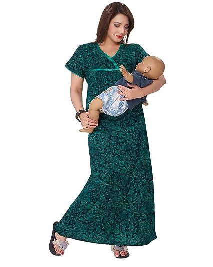 63ff9fc42c0d Eazy Women S Cotton Maternity Nighty (Hm516Xl Green XL)  Amazon.in ...