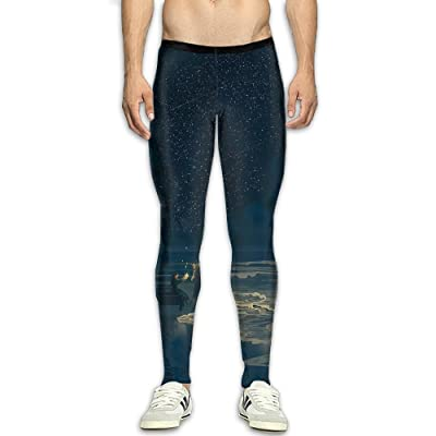 CFWMKO Men¡¯s Compression Light Under The Stars Pants Baselayer Running Tights 3D Print Fitness Sports Leggings