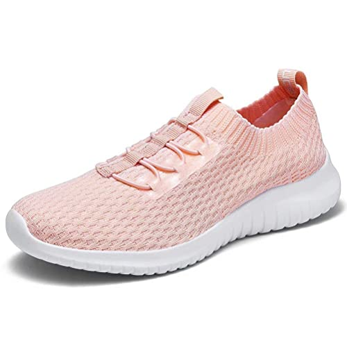 konhill Women's Slip on Sneakers Walking Tennis Casual Sports Sock Comfort Shoes,Pink,35 Best Breathable Mesh Running Shoes for Women