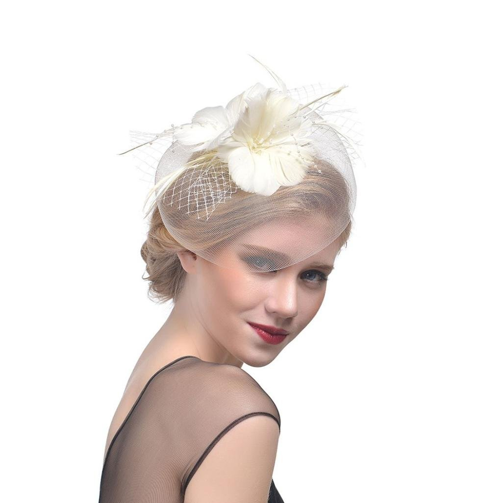 Challyhope Clearance! Flower Cocktail Tea Party Headwear Feather Mesh Net Veil Fascinators Top Hat for Girls and Women (Beige)