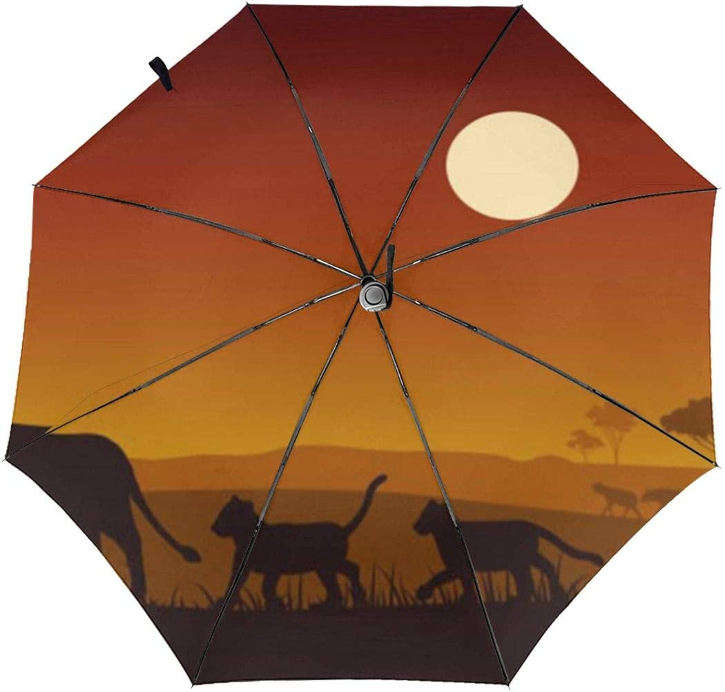 Africa Wildlife Silhouette Lion Automatic Windproof Travel Umbrella Compact Canopy With Black Glue And UV-resistant Coating