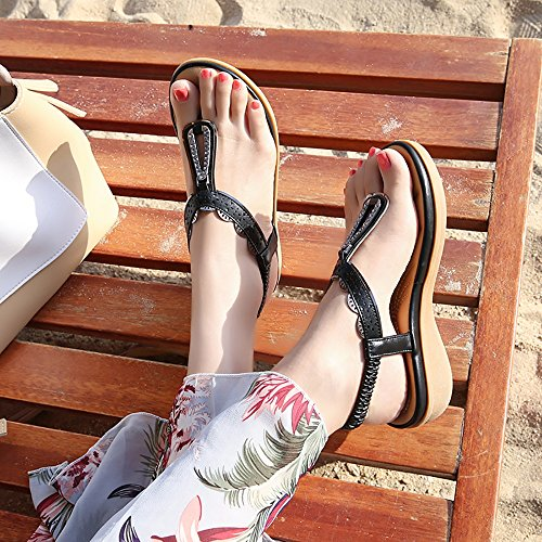 Flop Flip Black Strap Thong Wollanlily Ankle Summer 02 Shoes Beach Flat Sandals Women Bohemia waBZqC0R
