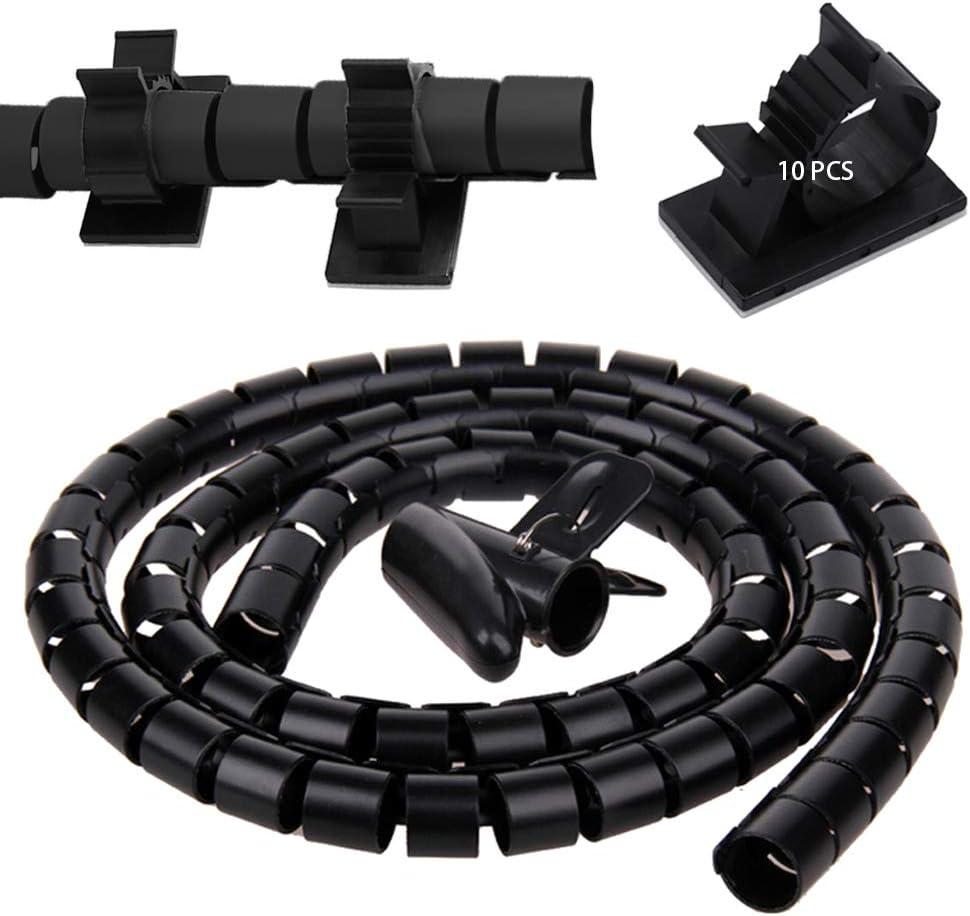20mm 20mmx1.5m Noir Plastique Cacher les c/âbles Universel Gaine Cable SENDILI 1*cache cable spirale et 10*serre-cable adhesif