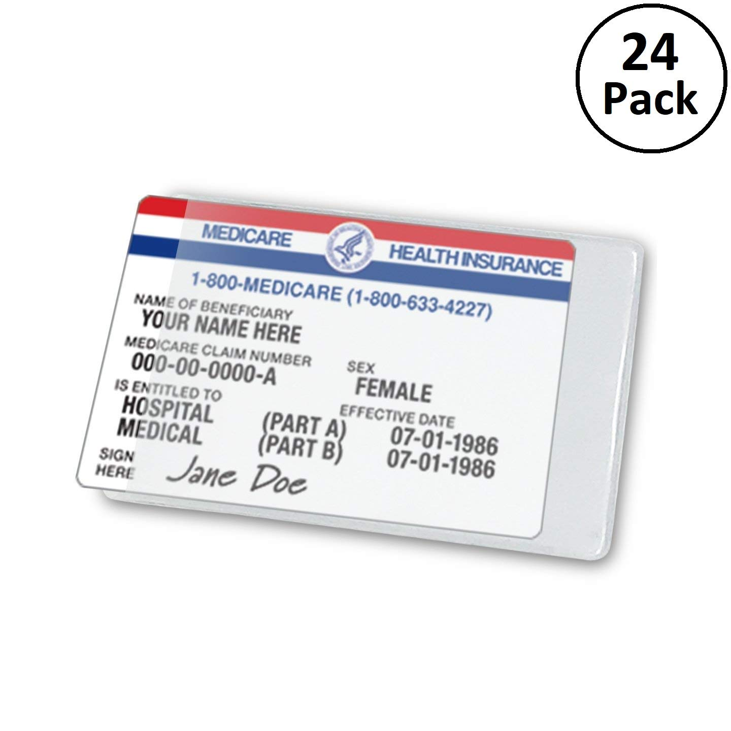 Clear Large Medicare Card Size Credit Card Protector Sleeves, 6 Mil Thickness, 24 Pack