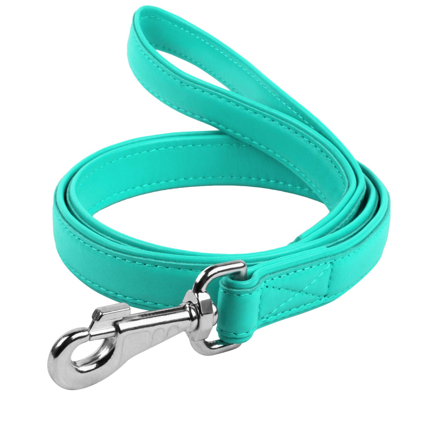 Leather Dog Leash 4 ft - Soft Dog Lead for Small Medium Large Dogs Puppy - Red Blue Pink Purple Green Black Pet Leashes for Outdoor Walking Running Training (Mint Green, 4 Ft x 1'' Wide)