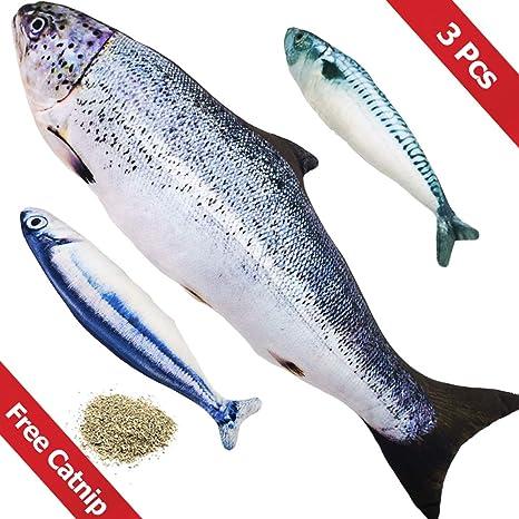 PetIsay Gato Interactivo Juguetes Pescados con Hierba gatera(3 Piezas) - 40cm de salmón