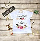 Young Wild and Three Boho Baby Clothes Third Birthday Shirt Personalized Baby Boho Bodysuit Toddler T-shirt Baby Shower Gift Custom Clothes Infant Bodysuit Baby Boho Clothes Baby Boho Designs