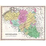 MAP FINLEY 1827 BELGIUM LUXEMBOURG OLD LARGE POSTER PRINT PAM0899