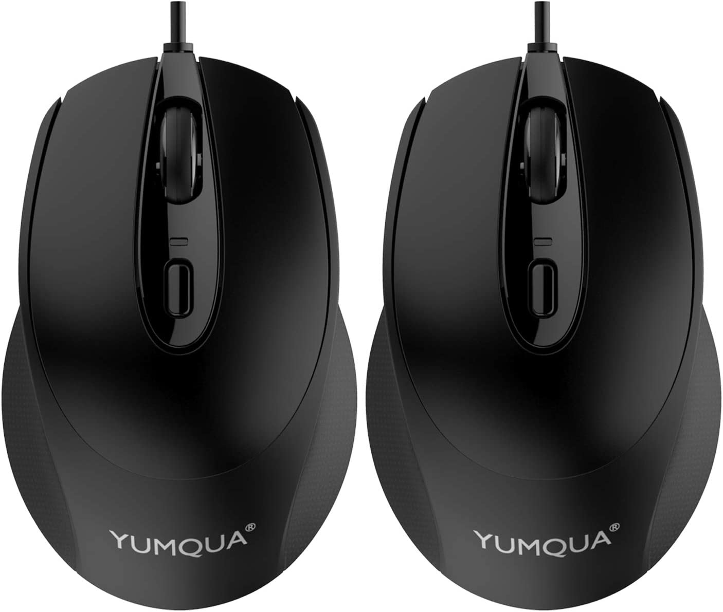 YUMQUA G222 Silent Mouse USB Wired 2 Pack, Office & Home Optical Computer Mouse with 2 Adjustable DPI(800/1200), 4-Button Mouse for Laptop PC Desktop, Fits Left & Right Handed Users