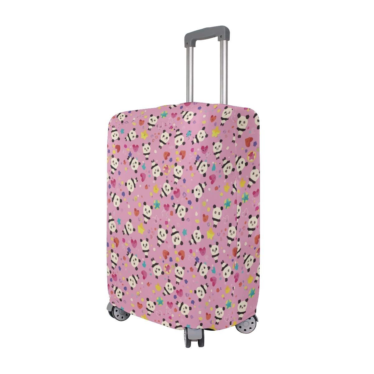 Giant Panda Flowers Heart Pink Travel Suitcase Protector Zipper Suitcase Cover Elastic