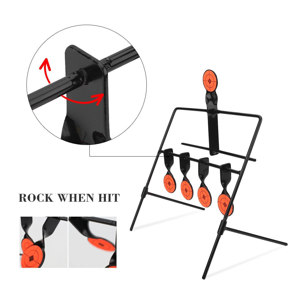 Dioche Shooting Target Stands Hot Metal Rotating Spinning Shooting 5 Targets with Stickers for Rifle Airgun