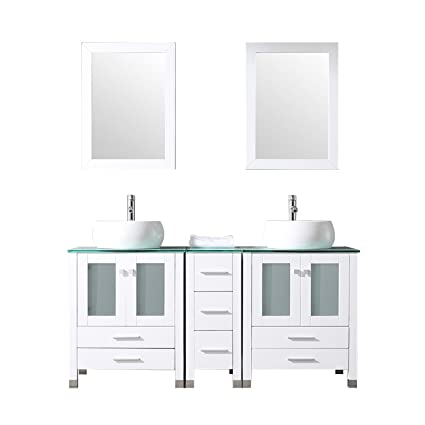 Sliverylake 60u201d Double Sink Bathroom Vanity Cabinet Glass Top W/Mirror White  Ceramic Vessel