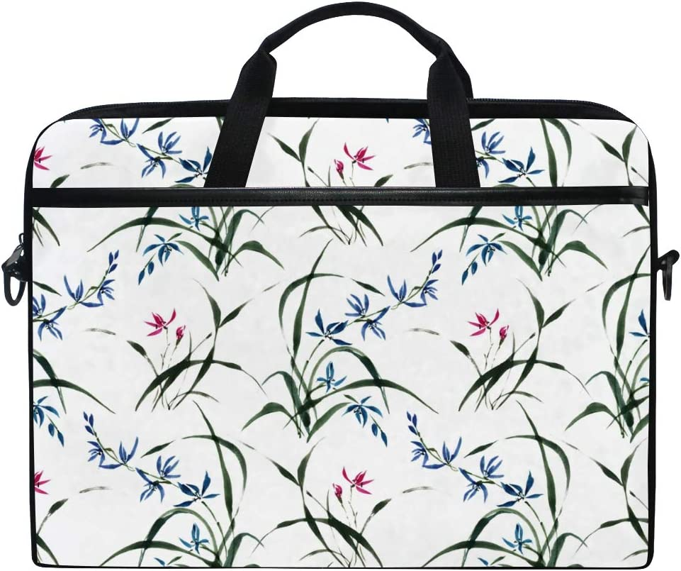 Computer Carrying Case Fits 15-15.4 Inch Notebook FICOO 15 Inch Laptop Sleeve Case Bag Chinese Ink Painting Orchid Messenger Bag for Women Men