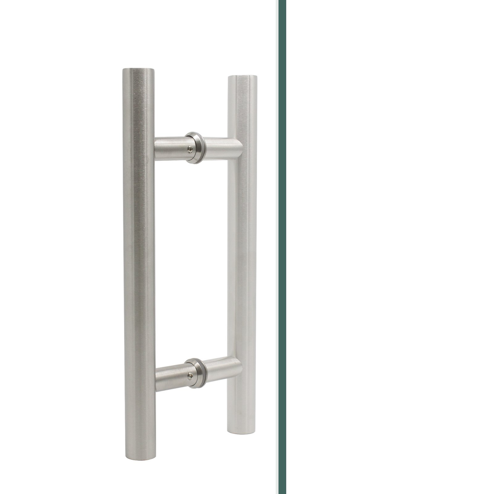 Double Side Stainless Steel Barn Door Pulls Brushed Nickel 12'' Total Length 7.4 Hole Spacing Sliding Gate Pulls