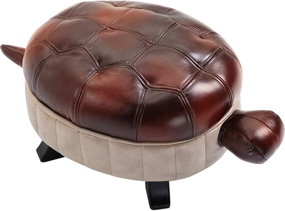 Kelendle Animal Footstool Turtle Upholstered Ottoman PU Leather Pouf Wood Foot Stool Rest for Living Room Bedroom Sofa Bench Seat Chair, Reddish Brown, Large