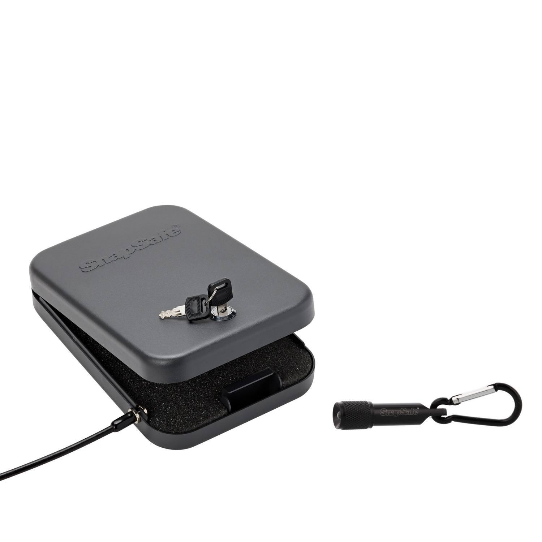 "SnapSafe Steel Keyed Lock Box & Flashlight Combo, X-Large 10""x 7""x 2"" Box & Mini 2"" Flashlight, Security Case for Guns or other Valuables"