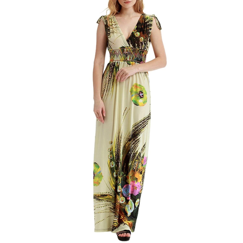 iShine Plus Size Damen Maxikleid Lang V-Ausschnitt Sommerkleid A ...