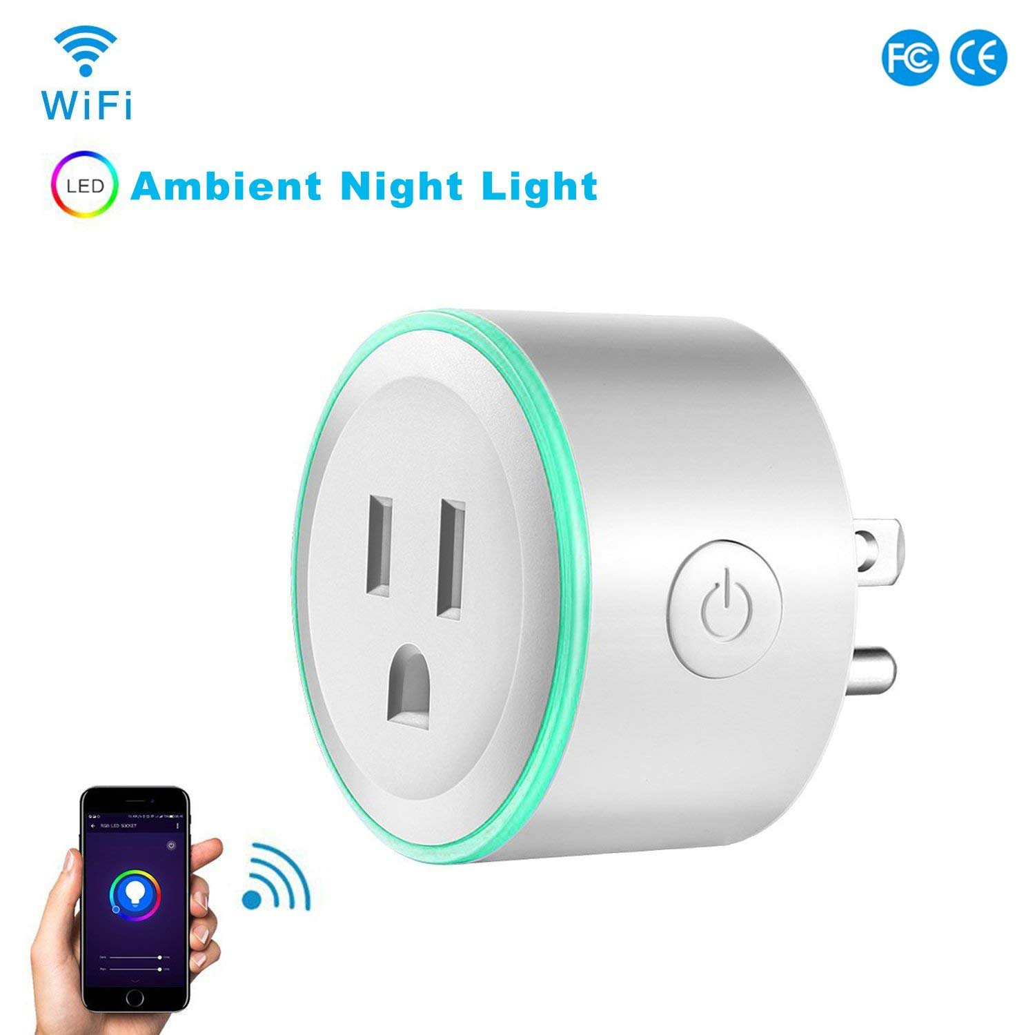Wifi Smart Plug, Work With Alexa Google Home,with Ambient Night Light, Compatible With Voice Activated Devices Echo Dot Accessoires,Remote Mini Outlet Multi-function Socket Swtich