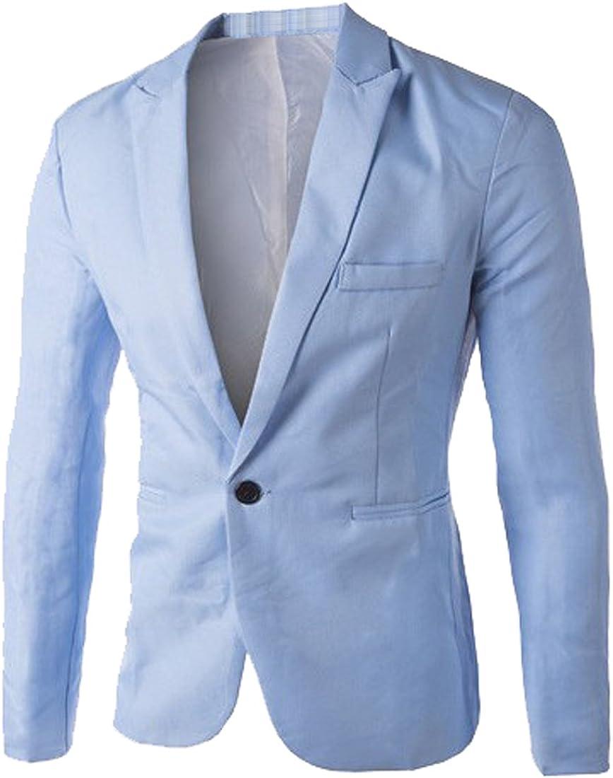 Fensajomon Men One Button Solid Color Pockets Casual Business Long Sleeve Blazer Jacket Coat